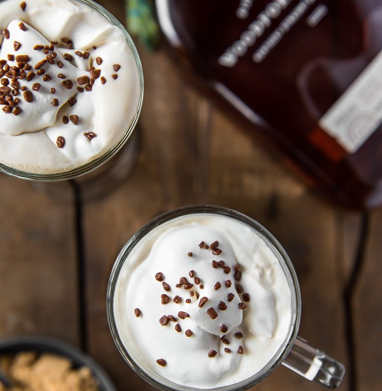 classic Irish coffee in glass mugs