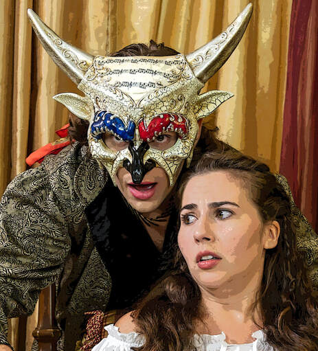 man in mask looks over shoulder of worried woman