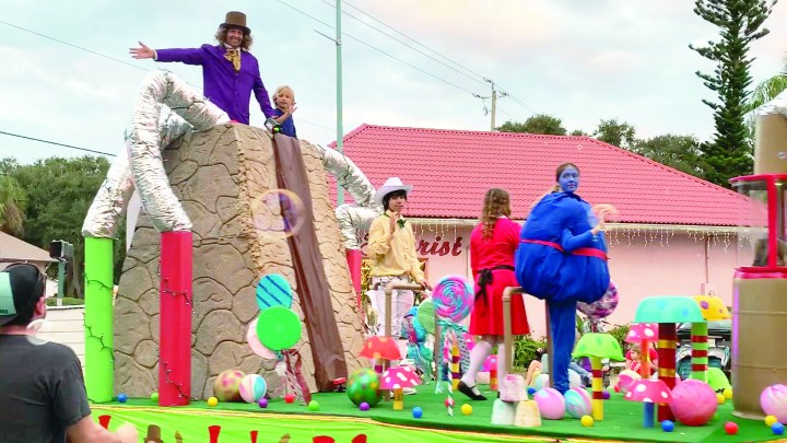 Wilkie Wonka Wilkies pest control holiday parade float