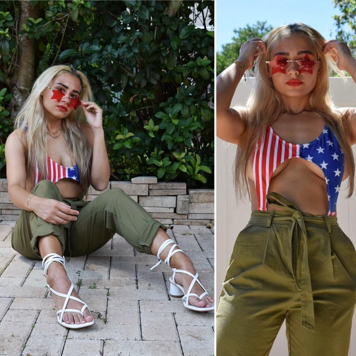 double image of blonde woman in American flag bathing suit with green khaki pants
