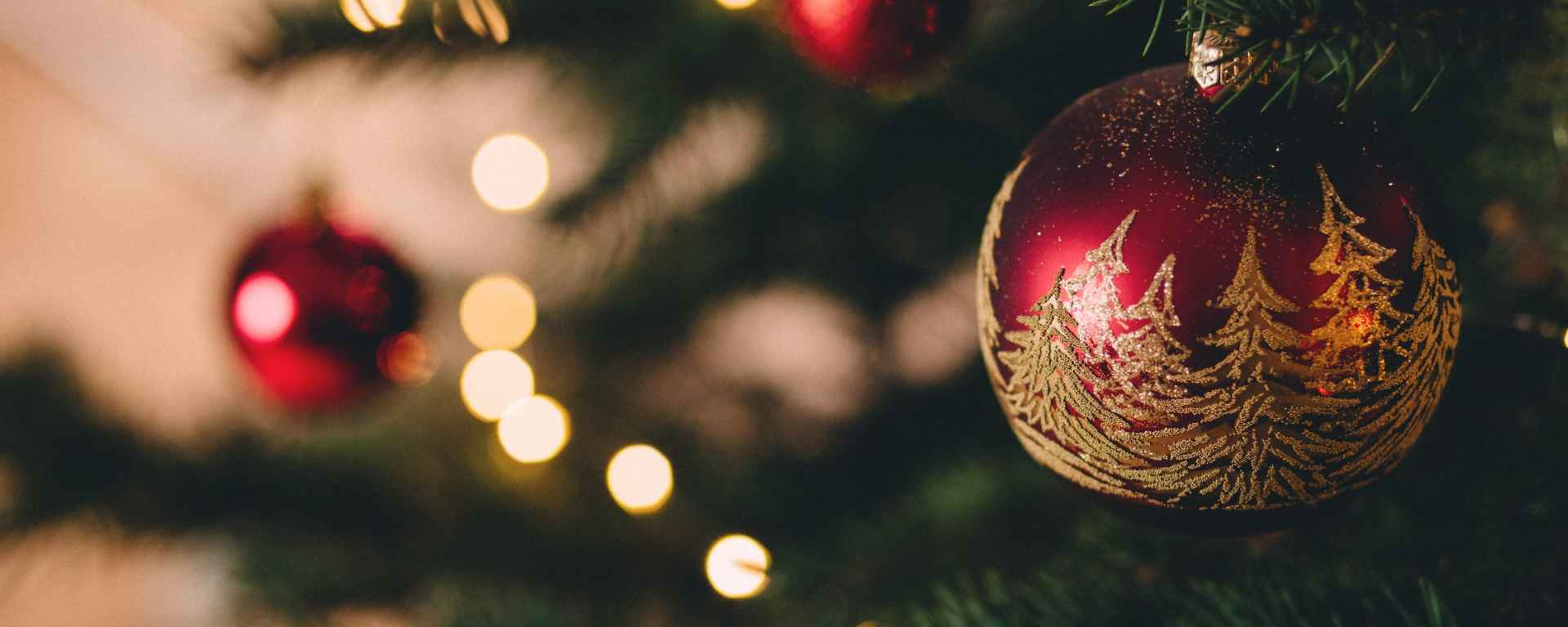 close up of red and gold ornament on Christmas tree branch
