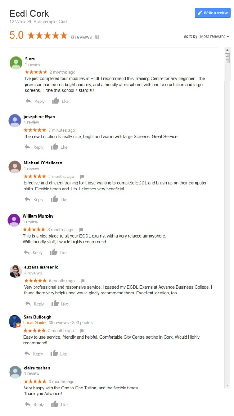 reviews from clients