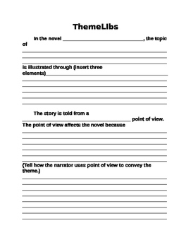 QuotThemeLibsquot Theme Essay Template By Haley Noteboom TpT