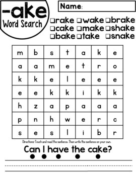 Ake Word Family Worksheets By Red Headed Teacher