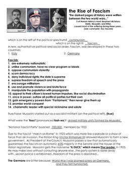 S Rise Of Fascism Worksheet With Answer Key Hitler