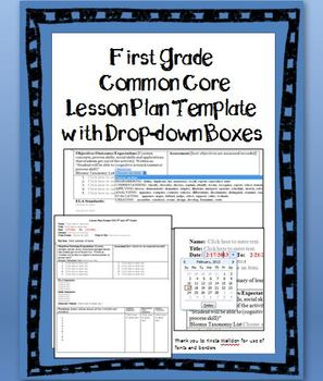 1st Grade Common Core Lesson Plan Template with Drop down Boxes   TpT 1st Grade Common Core Lesson Plan Template with Drop down Boxes