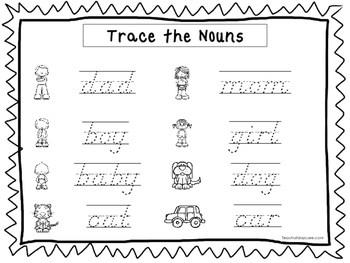 2 D Nealian Trace The Nouns Worksheets Preschool 2nd