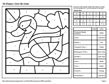 3d Shapes Color By Code Coloring Pages Pond Life By Whooperswan