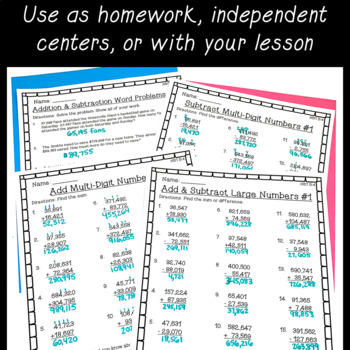4th Grade Math Worksheet Bundle Fractions Place Value