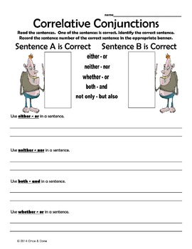 Correlative Conjunctions By Melissa S Teacher Mall