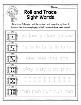 Sight Word Worksheets Kindergarten Roll And Trace