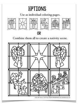 Stained Glass Christmas Nativity Scene COLORING Pages By