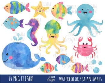 50 Sale Watercolor Sea Animals Clipart Under The Sea Sea Animals