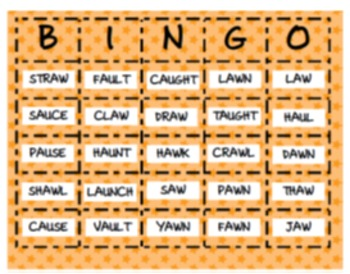 Aw Amp Au Ambiguous Vowel Bingo By First Grade Is A Hoot