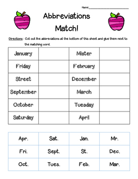 Abbreviations Matching Worksheet Cut And Paste By 4
