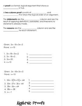Algebraic Proofs Flipbook By Mrs E Teaches Math
