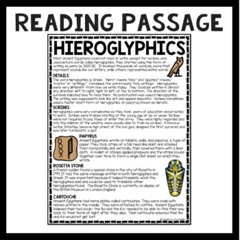 Ancient Egypt Hieroglyphics Reading Comprehension