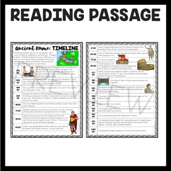 Ancient Rome Timeline Reading Comprehension Worksheet Roman Empire