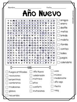 Ano Nuevo New Year In Spanish Buscapalabras By Rhoda S Kidz Tpt - Pesta In English Language, The Pesta Ahlander Agency
