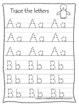 Antarctic Animals Themed A Z Tracing Worksheets Printable Preschool Handwriting