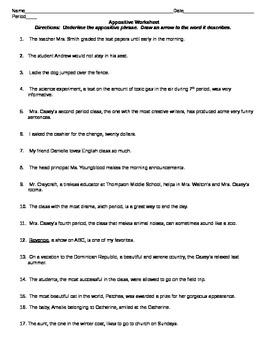 Appositive Identification Worksheet By Bamajess
