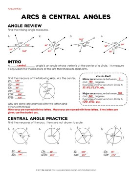 Arcs And Central Angles Interactive Notes Free