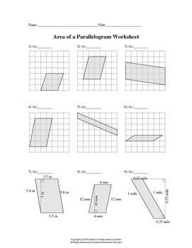 Area Of Parallelogram Worksheet By Family 2 Family