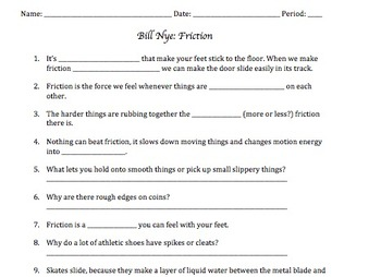 Bill Nye Friction Video Worksheet By Mayberry In Montana