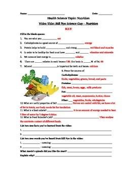 Bill Nye Science Guy Movie Nutrition Video Worksheet