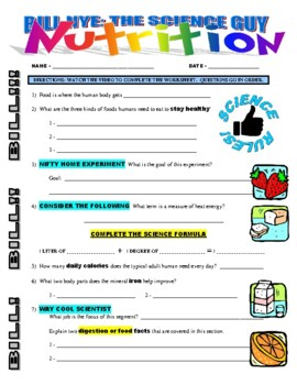 Bill Nye The Science Guy Nutrition Video Worksheet And