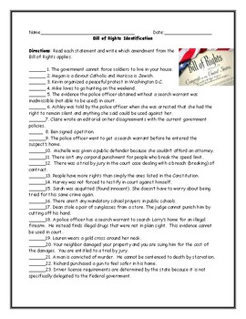 Bill Of Rights Amendment Identification Worksheet With