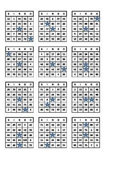 Bingo Number Cards X50 1 100