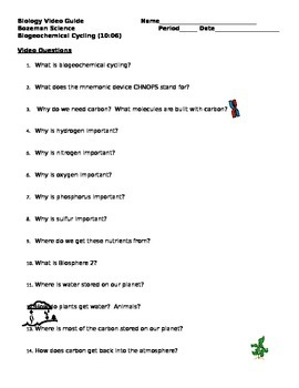 Biogeochemical Cycles Worksheets Teaching Resources Tpt