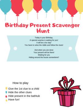Birthday Scavenger Hunt Riddles By Craftybunnyclub Tpt