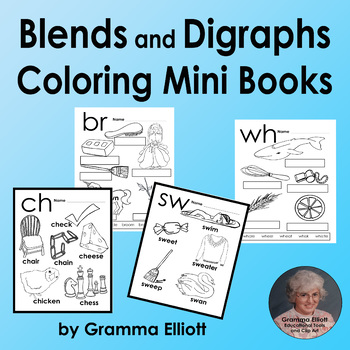 Blends And Digraph Mini Books BW Coloring Pages Low