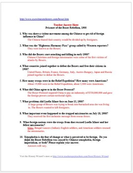 Imperialism Boxer Rebellion Primary Source Worksheet By