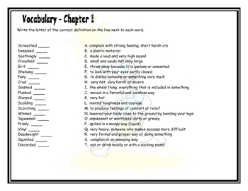Bridge To Terabithia Vocabulary Questions And Activities