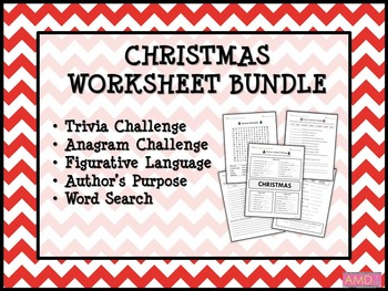 Christmas Worksheet Bundle 5 Worksheets By Mainly Middle