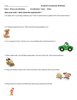 Calculate Force And Acceleration Worksheets 2 Motion