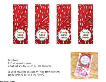 Candy Cane Seeds Free Printable Label Student Gift By More Than A Worksheet