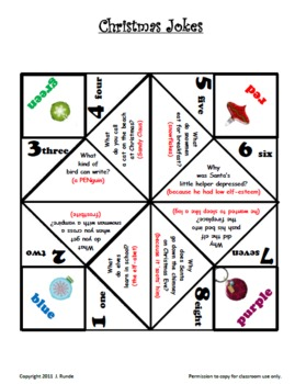 Christmas Cootie Catchers FREE By Rundes Room TpT