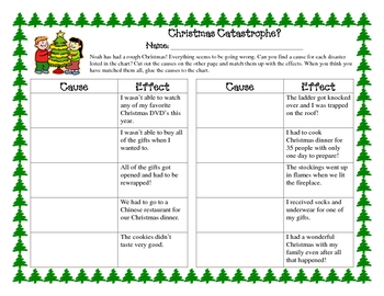 Christmas Holiday Cause And Effect Practice Activity Hands