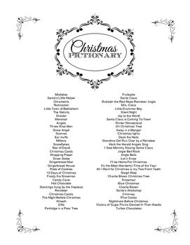Christmas Pictionary.Christmas Pictionary Word List Hard Thecannonball Org
