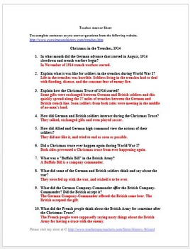 Christmas Truce World War I Primary Source Worksheet By
