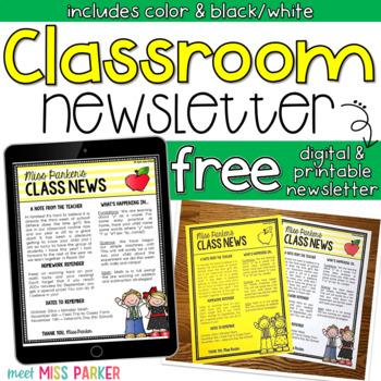 Free Classroom Newsletter Template Editable Digital