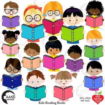 Classroom Clipart Multicultural Kids Reading Clipart Amb 2305 Tpt