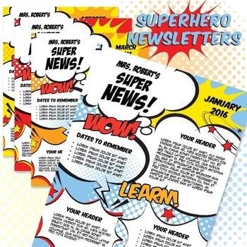 Classroom Newsletter Template Superhero Newsletter MS Word Amp Powerpoint
