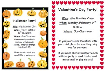 Classroom Party Invitations By Miss Martin Teachers Pay