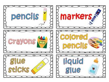 Classroom Supply Labels For Primary Teachers With Picture Clues FREE