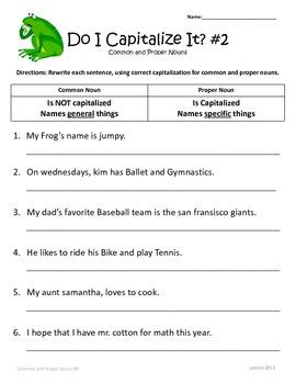 Common And Proper Nouns 1st 2nd 3rd Grade Common Core